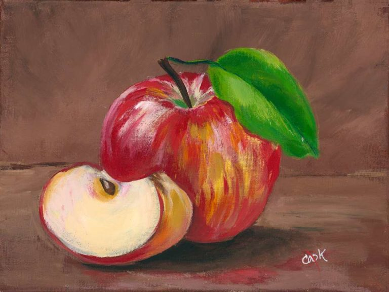Introductory Acrylic Paint Tutorial of an Apple, Leaf, and a Slice