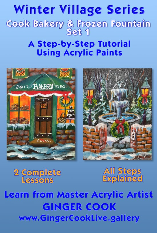 Winter Village Series – Cook Bakery and Frozen Fountain – Set 1