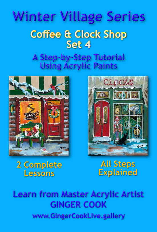 Winter Village – Coffee Shop & Clock Shop – Set 4
