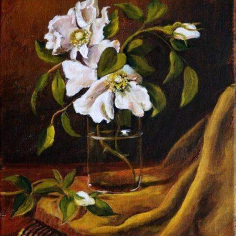 Cherokee Rose In Glass Vase CR 1080h70