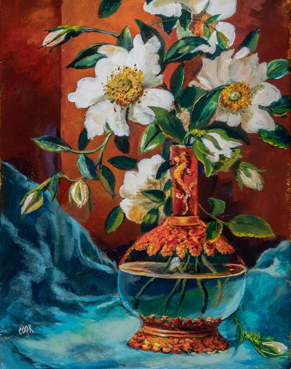 Salamander Vase with White Cherokee Roses