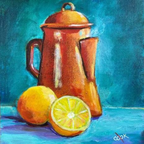 Enamel Coffee Pot With Oranges FI 500s70