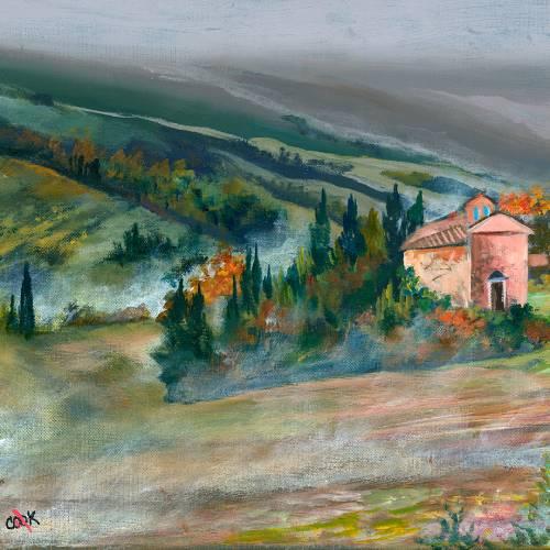 Misty Villa Autumn Scene