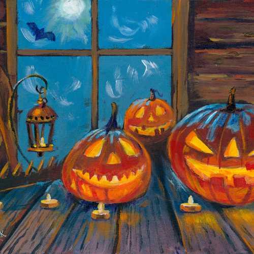 Halloween Pumpkins in the Window