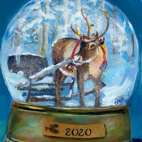 2020 Reindeer Snow Globe FI 500s70