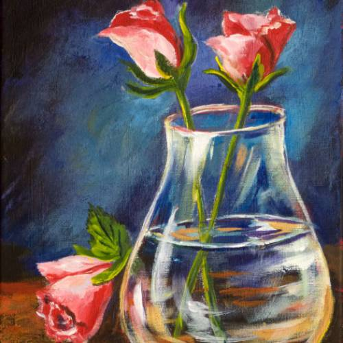 3 Roses with a Glass Vase