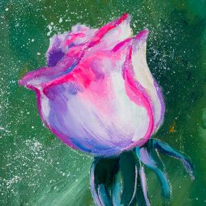 A Rose Bud in Acrylics Step by Step