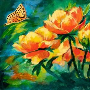 Yellow Wild Flowers and Butterfly Acrylic Painting