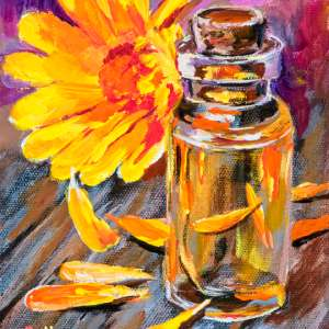 Glass Vial with Flowers