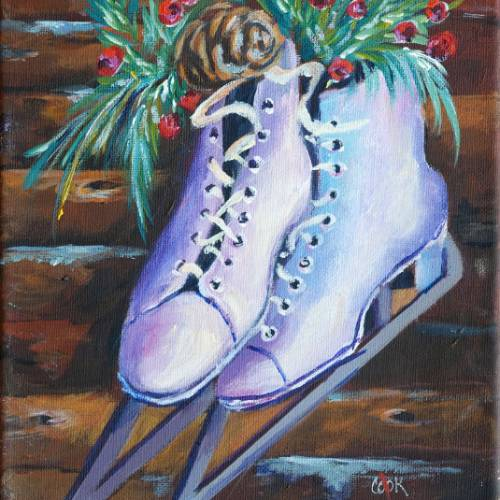 Ice Skates on a Log Cabin Wall – Downloadable