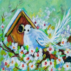 Little Bird and Birdhouse in Spring – QQ #59