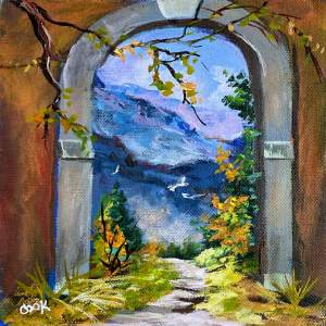 Winding Hiking Trail Through Arched Door – QQ #11