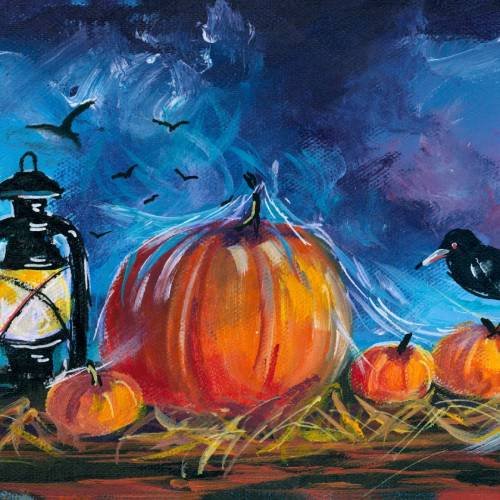 October Twilight with Pumpkins and Lamp