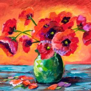 Vibrant Poppies in Vase