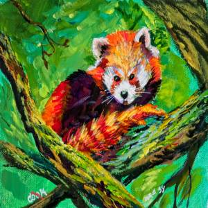 Red Panda Lying on the Tree with Green Leaves – QQ #38
