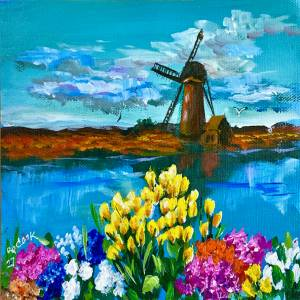 Windmill Landscape with Tulips – QQ #27