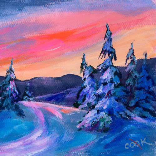 Winter Snowy Sunset