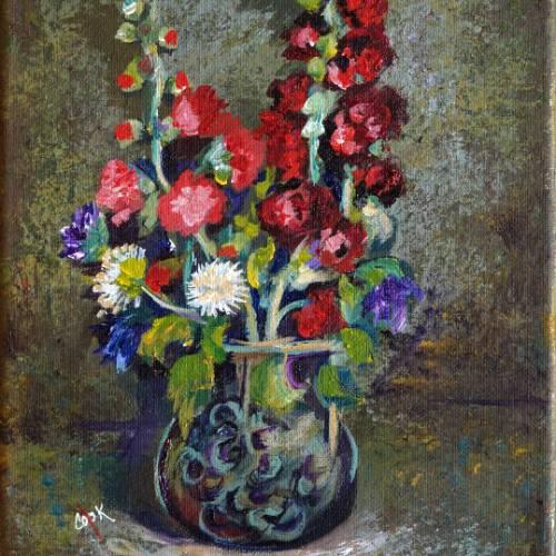 Van Gogh's Hollyhocks in Blue Vase