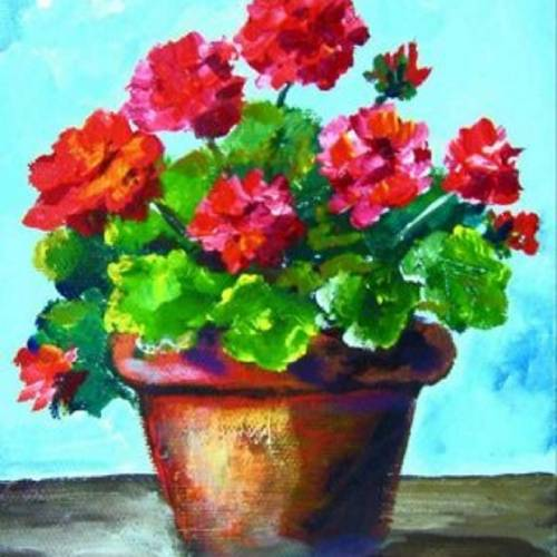 Potted Geraniums Palette Knife