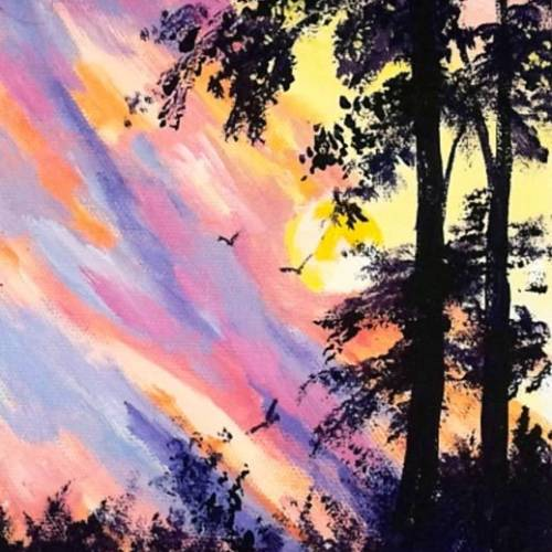 Sunset with Pine Trees
