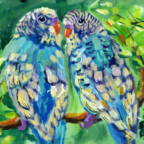 Abstract Two Blue Parakeets