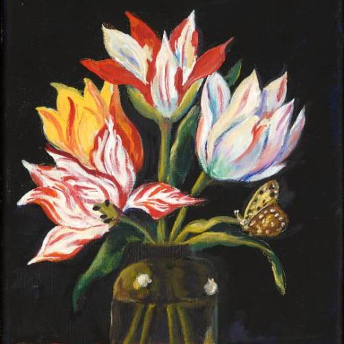 Glass Vase with Four Tulips and Bugs – Introduction